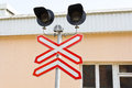 Old railroad traffic light photo of russian Royalty Free Stock Photos