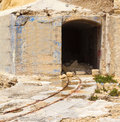 Old rails in the fort tigne fortress sliema malta Royalty Free Stock Photos