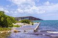 Old railway bridge at Bahia Honda near Key West Royalty Free Stock Photo