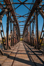 Old railway bridge over the elbe in magdeburg germany Royalty Free Stock Photo