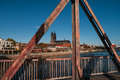 Old railway bridge over the elbe in magdeburg germany Royalty Free Stock Photography