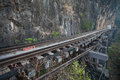 Old railway on the cliff at kanchanaburi thailand Royalty Free Stock Images
