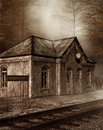 Old railway station in a forest Royalty Free Stock Photography