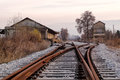 Old railway station and tracks in florina northern greece autumn Stock Images