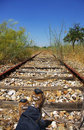 Old railway track in the plain. Royalty Free Stock Images