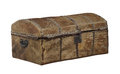 Old rawhide covered trunk isolated. Royalty Free Stock Photo