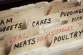 Old recipe box with sections for cakes meats etc Royalty Free Stock Images