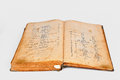 Old recipes book vintage on the white background Stock Photo