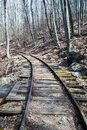 Old reconstructed logging railroad blue ridge parkway – mp a short stretch of narrow gauge track exhibit was known as the irish Royalty Free Stock Images