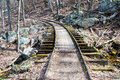 Old reconstructed logging railroad blue ridge parkway – mp a short stretch of narrow gauge track exhibit was known as the irish Stock Photography