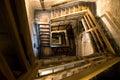 Old rectangular spiral stairways Royalty Free Stock Photo
