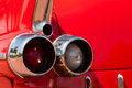 Old red automobile. Rear part. Royalty Free Stock Photo