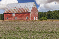 Old red barn field of clover and an in rural prince edward island canada Stock Images