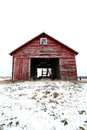 Old Red Barn in Snow in Illinois Stock Photo