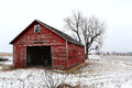 Old Red Barn in Winter in Illinois Stock Images