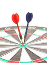Old red and blue dart point to target Royalty Free Stock Image