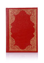 Old red book with gold color ornament on cover isolated white Stock Photography