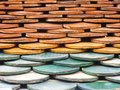 Old red brick roof tiles abstract architecture Royalty Free Stock Image