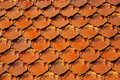 Old red brick roof tiles from north of thailand Royalty Free Stock Image