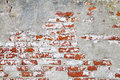 Old Red Brick Wall with Cracked Concrete Background Texture Royalty Free Stock Photo