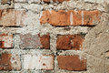 Old red brick wall with cracks, style loft background Royalty Free Stock Photo