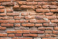 Old red brick wall in the wall of old building. Royalty Free Stock Photo