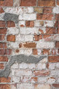 Old red brick wall with white plaster texture background Royalty Free Stock Photo