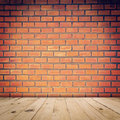 Old red brick wall and wood floor Royalty Free Stock Photo