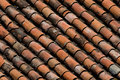 Old red clay roof tiles Stock Photography