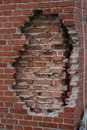 Old red european outside wall without insulation, facade made with bricks Royalty Free Stock Photo