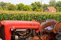 Old red farm tractor Royalty Free Stock Photography