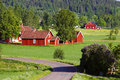 Old red farms in a green landscape and huts surrounded by th century houses scandinavia sweden Royalty Free Stock Images