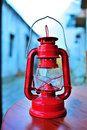 Old red kerosene lantern Royalty Free Stock Photos