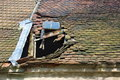 Old red roof tile restoration background Royalty Free Stock Photos