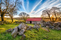 Old red roofed barn at emsworthy on dartmoor national park in devon Royalty Free Stock Photo
