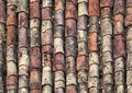 Old red tile roof background texture Stock Photography