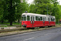 Old red tram in miskolc hungary and white Royalty Free Stock Photography