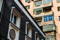 Old and Renovated Apartment Buildings in Juxtaposition, Beijing, China Royalty Free Stock Photo