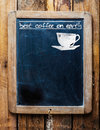 Old restaurant menu on a rustic school slate or coffee house weathered vintage with silhouette of cup and the text best Royalty Free Stock Photography
