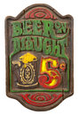 Old Retro Antique Draft Beer Sign Isolated, White