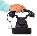 Old retro bakelite telephone on white background Stock Images