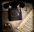Old retro bakelite telephone on white background Royalty Free Stock Photos