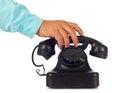 Old retro bakelite telephone on white background Stock Photo