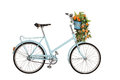 Old retro bicycle with flowers Stock Photography