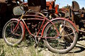 Old retro bike and tractor parts Royalty Free Stock Photo