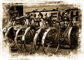 Old retro bikes a group of rusty push parked in a row Stock Images