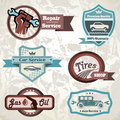 Old retro car emblem collection of vintage labels Stock Photography