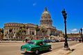 Old retro car in havana cuba may classic american and capitol building photo taken on may Stock Photos