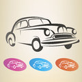 Old retro car symbol isolated Royalty Free Stock Photos