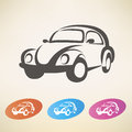 Old retro car symbol isolated Stock Photo